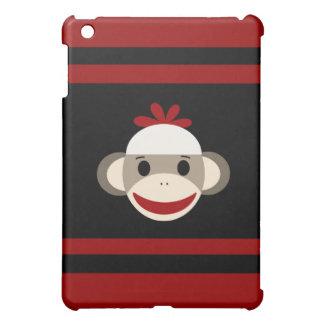 Cute Smiling Sock Monkey Face on Red Black iPad Mini Case