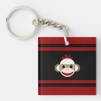 Cute Smiling Sock Monkey Face on Red Black Square Acrylic Key Chains