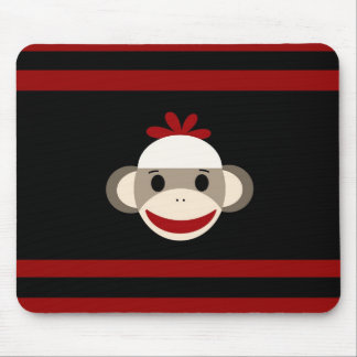 Cute Smiling Sock Monkey Face on Red Black Mouse Pad