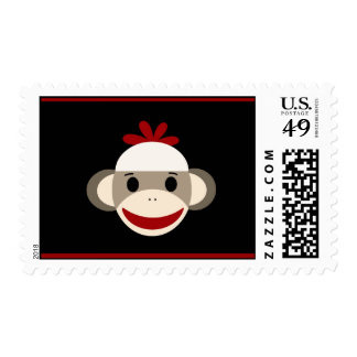 Cute Smiling Sock Monkey Face on Red Black Postage Stamp