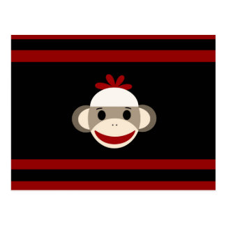 Cute Smiling Sock Monkey Face on Red Black Postcard