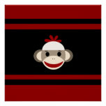 Cute Smiling Sock Monkey Face on Red Black Print