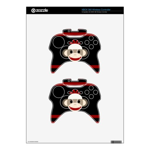 Cute Smiling Sock Monkey Face on Red Black Xbox 360 Controller Decal