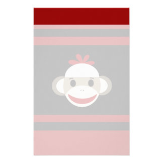 Cute Smiling Sock Monkey Face on Red Black Stationery