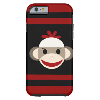 Cute Smiling Sock Monkey Face on Red Black Tough iPhone 6 Case