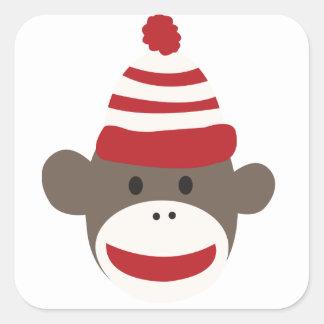 Cute Smiling Sock Monkey Face Sticker
