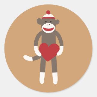 Cute Smiling Sock Monkey with Heart Sticker