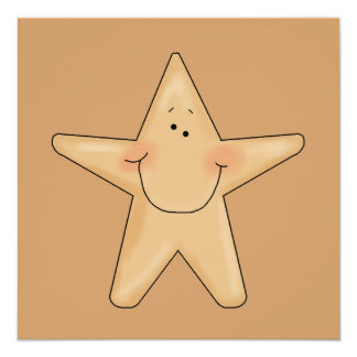 Cute Smiling Star Fish Cartoon Character Design Card