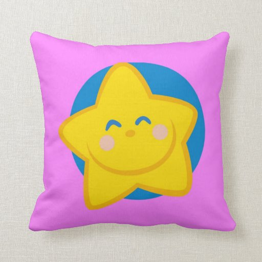 Cute Smiling Star , Pink Pillow Zazzle