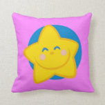 Cute Smiling Star , Pink Pillow