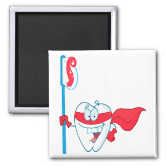 Cute Smiling Superhero Tooth With Toothbrush 2 Inch Square Magnet