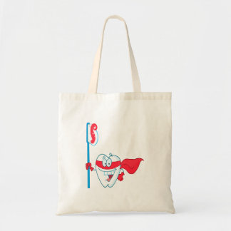 Cute Smiling Superhero Tooth With Toothbrush Tote Bag
