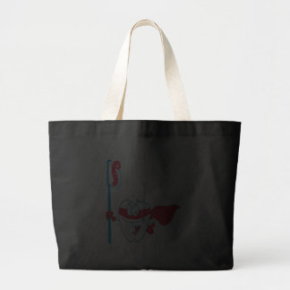 Cute Smiling Superhero Tooth With Toothbrush Tote Bags