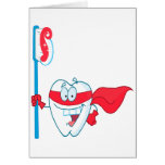 Cute Smiling Superhero Tooth With Toothbrush Greeting Card