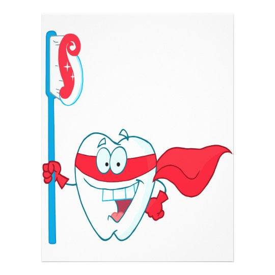 Cute Smiling Superhero Tooth With Toothbrush Flyer