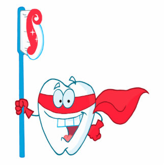 Cute Smiling Superhero Tooth With Toothbrush Photo Cutout