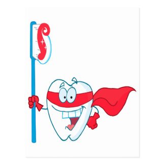 Cute Smiling Superhero Tooth With Toothbrush Postcard