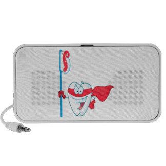 Cute Smiling Superhero Tooth With Toothbrush Mini Speakers
