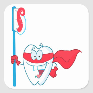 Cute Smiling Superhero Tooth With Toothbrush Square Sticker