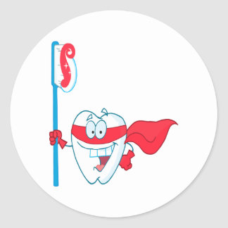 Cute Smiling Superhero Tooth With Toothbrush Classic Round Sticker