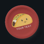 "Cute Smiling Taco Party Plate<br><div class=""desc"">Personalize this plate for a special taco themed fiesta,  or for Taco Tuesday.</div>"