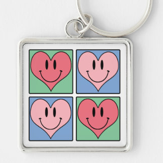 Cute Smiling Valentine's Hearts, I Love You Silver-Colored Square Keychain