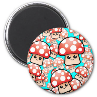 Cute Smiling Vector Mushrooms (editable) 2 Inch Round Magnet
