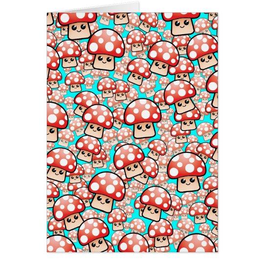 Cute Smiling Vector Mushrooms (editable) Card