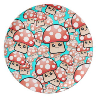 Cute Smiling Vector Mushrooms (editable) Melamine Plate