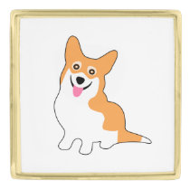 Cute Smiling Welsh Corgi Pup Gold Finish Lapel Pin