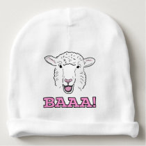 Cute Smiling White Sheep Face Illustration Baaa! Baby Beanie