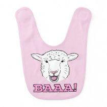 Cute Smiling White Sheep Face Illustration Baaa Baby Bib
