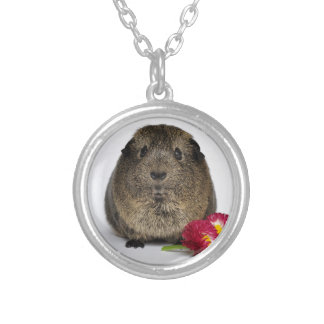 Cute, Smooth, Lemon Agouti Guinea Pig and Flowers Silver Plated Necklace
