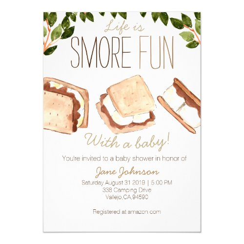 Cute smores camping baby shower invite