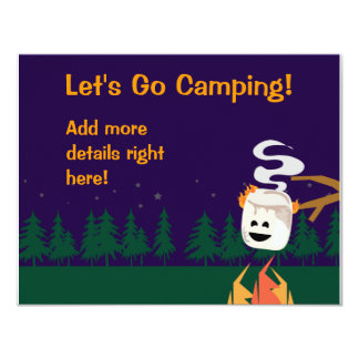 Cute Smores Camping Trip or Party 4.25x5.5 Paper Invitation Card