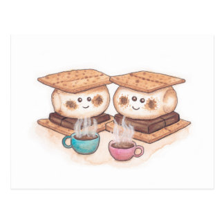 Cute S'mores Couple Coffee Date Postcard