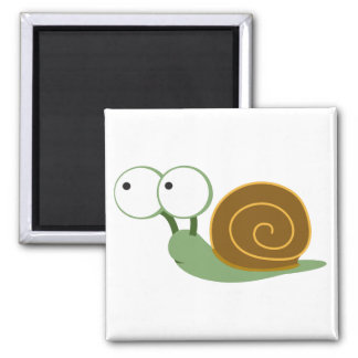 Cute Snail` 2 Inch Square Magnet