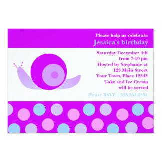 Cute Snail and Polka Dot Birthday Party - Purple Card