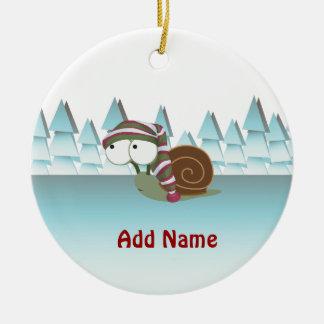 Cute Snail in Sleeping Cap Ceramic Ornament