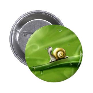 Cute Snail in the Rain Button