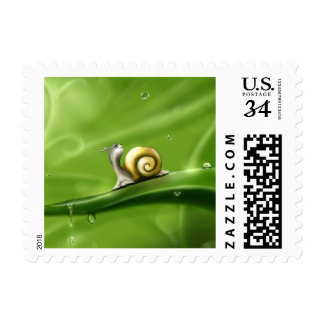 Cute Snail in the Rain Postage