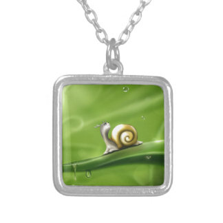 Cute Snail in the Rain Silver Plated Necklace