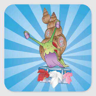 Cute Snail Moving House Square Sticker