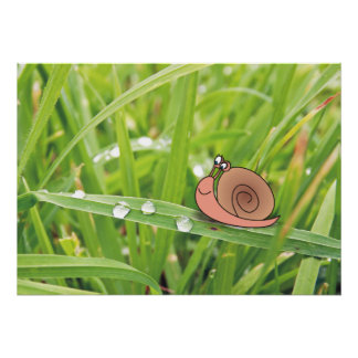 Cute Snail on Dewy Grass Photo Posters