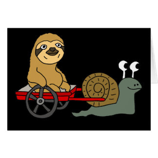 Cute Snail Pulling Sloth in Red Wagon Card