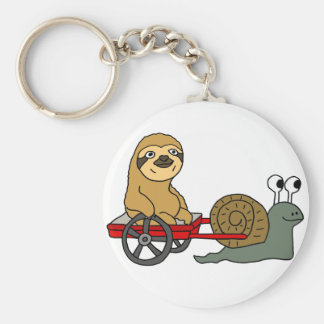 Cute Snail Pulling Sloth in Red Wagon Keychain