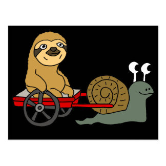 Cute Snail Pulling Sloth in Red Wagon Postcard