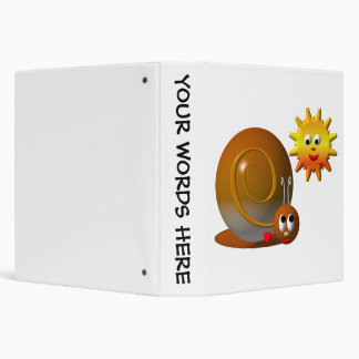 Cute snail with smiling sun binder