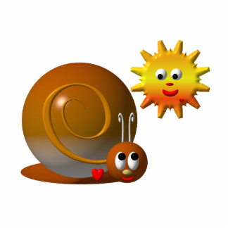Cute snail with smiling sun cutout
