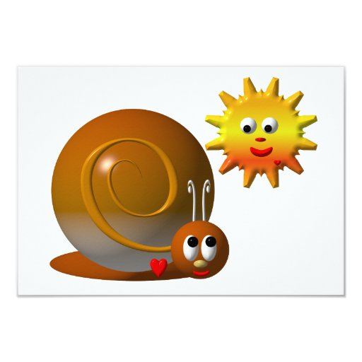 Cute snail with smiling sun 3.5x5 paper invitation card